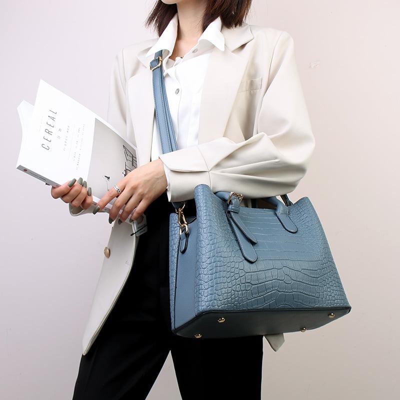 Crocodile Texture PU Leather Tote Shoulder Bag