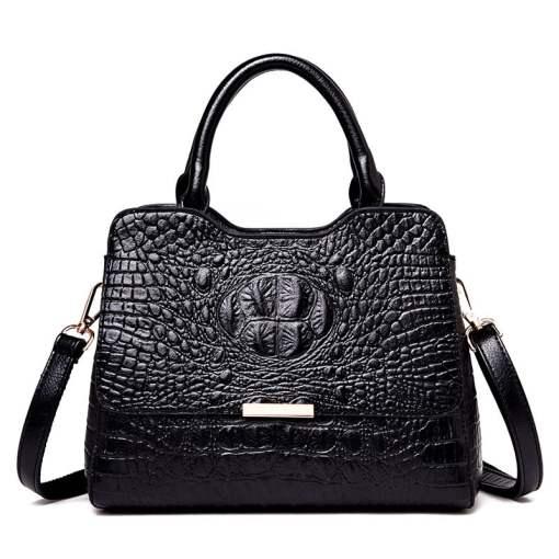Convex Crocodile Pattern PU Leather Fashion Tote Handbag Black