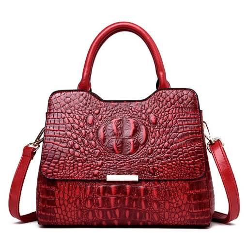 Convex Crocodile Pattern PU Leather Fashion Tote Handbag Red