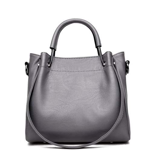 Leather Shoulder Strap Crossbody Shoulder Bag Grey