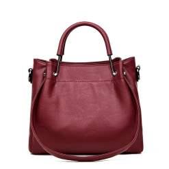 Leather Shoulder Strap Crossbody Shoulder Bag Wine Red