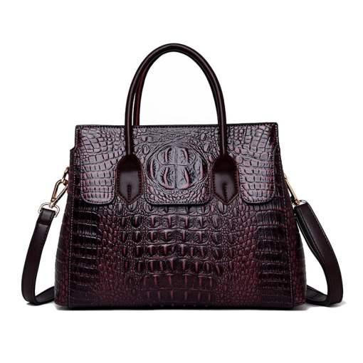 Fashion Crocodile Texture PU Leather Tote Bag Ladies Handbag Burgundy