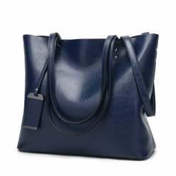 Women's Elegant Leather Shoulder Bag Office Large Handbag Blue