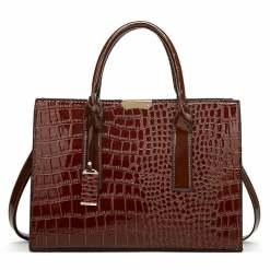 Crocodile Texture PU Leather Crossbody Tote Shoulder Bag Brown