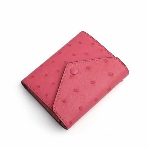 Genuine Ostrich Womens Billfold Wallet Pink