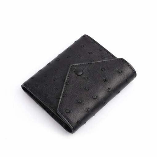 Genuine Ostrich Womens Billfold Wallet Black