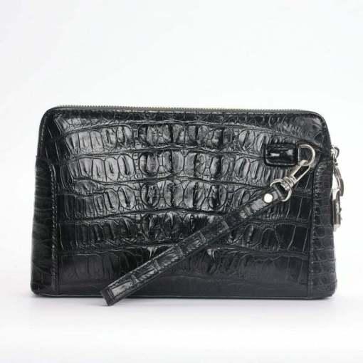 Crocodile Alligator Leather Men's Zipper Clutch Long Wallet