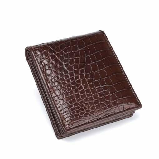 Genuine Crocodile Men Short Bifold Wallet Alligator Belly Skin Brown