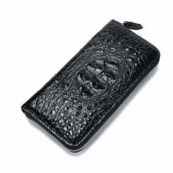 Mens Genuine Alligator Crocodile Skin Long Wallet Hand Clutch Black