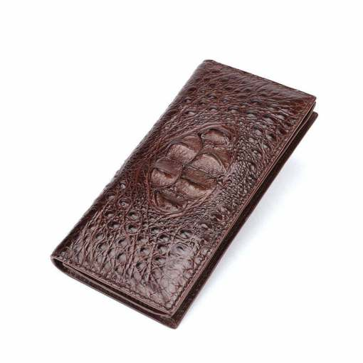 Mens Genuine Crocodile Flip Long Wallet Bifold Purse Brown