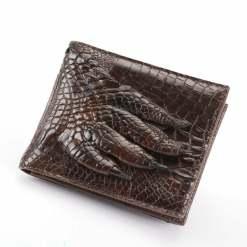 Men's Genuine Crocodile Claw Billfold Wallet Purse Brown