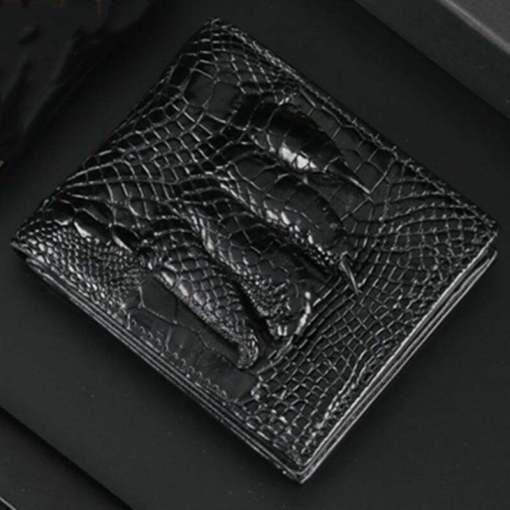 Men's Genuine Crocodile Claw Billfold Wallet Purse Black