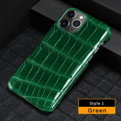 Real Crocodile Leather iPhone 12 Pro Max Case Medium Scale