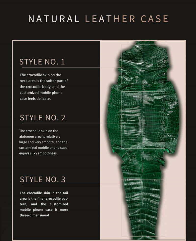Natural Crocodile Leather iPhone 12 Pro Max 11 Mini Case Cover