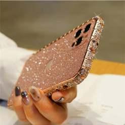 Glitter Bling Luxury Diamond Metal Bumper Case For iPhone 12 11 Pro Max