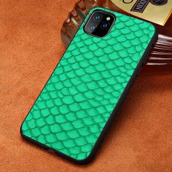 Natural Real Fish Skin Leather iPhone 12 11 Pro Max Case