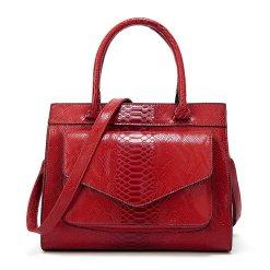 Snakeskin Texture PU Leather Satchel Shoulder Bag Red