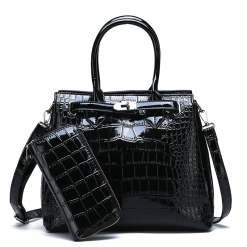 PU Leather Vintage Style Crossbody Tote Shoulder Bag Black