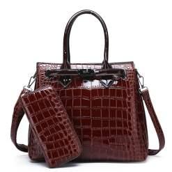 PU Leather Vintage Style Crossbody Tote Shoulder Bag Brown