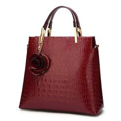 Women's Bags PU Leather Tote Satchel Crocodile Leather Shoulder Bags Red
