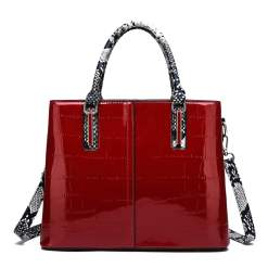Women's Bags PU Leather Satchel Top Handle Bag Leather Handbags Red
