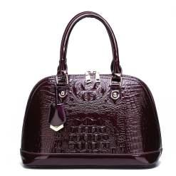Luxury Designer Crocodile Pattern PU Leather Tote Shoulder Bags Wine Red