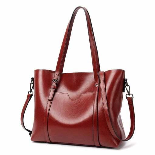Women Genuine Leather Top Handle Satchel Tote Shoulder Bag Large Capacity Wine Red