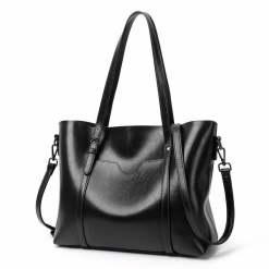 Women Genuine Leather Top Handle Satchel Tote Shoulder Bag Large Capacity Black