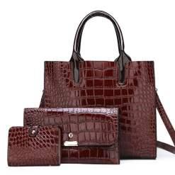 Women's Vintage Style Exotic Pattern Crossbody Tote Shoulder Bag Brown