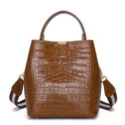 Genuine Leather Handbags Designer Crocodile Pattern Bucket Bag Shoulder Bag Brown