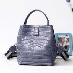 Genuine Leather Handbags Designer Crocodile Pattern Bucket Bag Shoulder Bag Blue