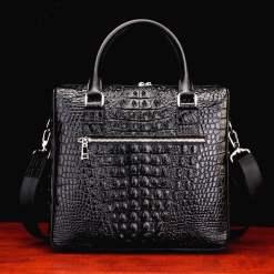 Real Crocodile Skin Leather Men's Business Briefcase Alligator Handbag Black