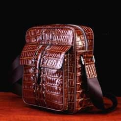 Real Thai Crocodile Skin Leather Mens Handbag Cross-Body Shoulder Bag Brown