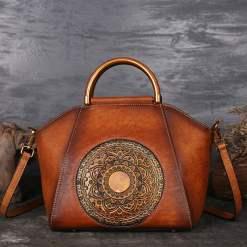 Womens Retro Genuine Leather Handbag Totem Embossing Shoulder Bag Tote Brown