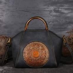 Womens Retro Genuine Leather Handbag Totem Embossing Shoulder Bag Tote Grey