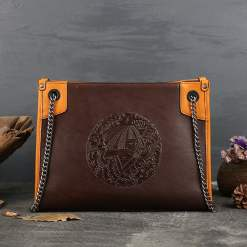 Embossing Totem Chain Bag Women's Genuine Leather Shoulder Bags Brown