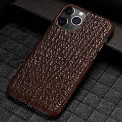 Natural Real Shark Skin Leather iPhone 12 Pro Max Case