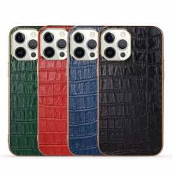 Crocodile Embossed Leather iPhone 13 Case