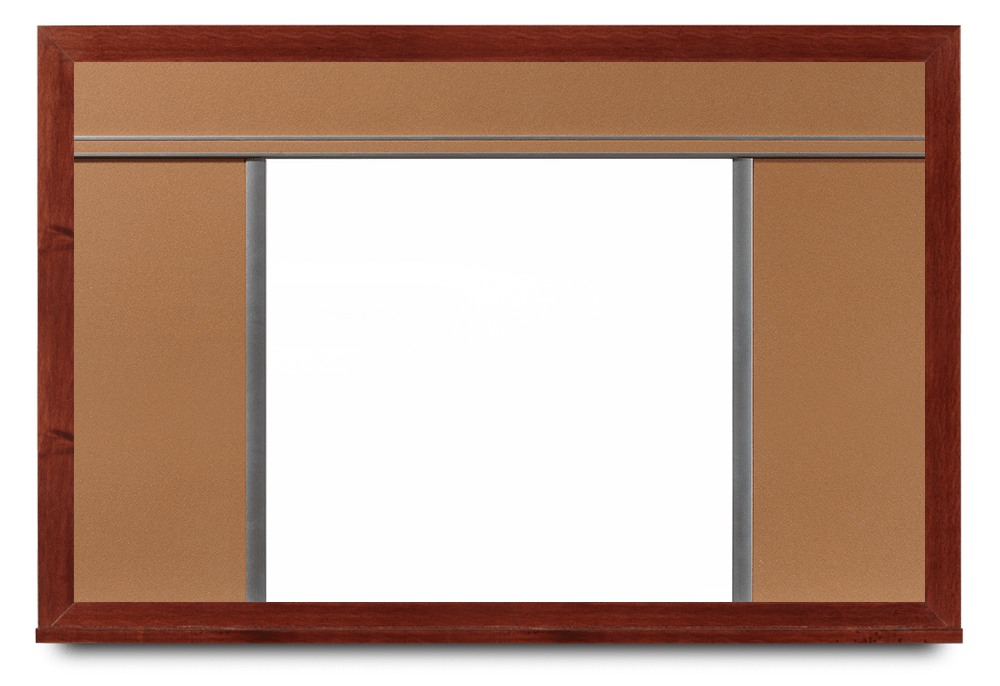 Mahogany Framed Whiteboard with Cork Panels on Top and Sides