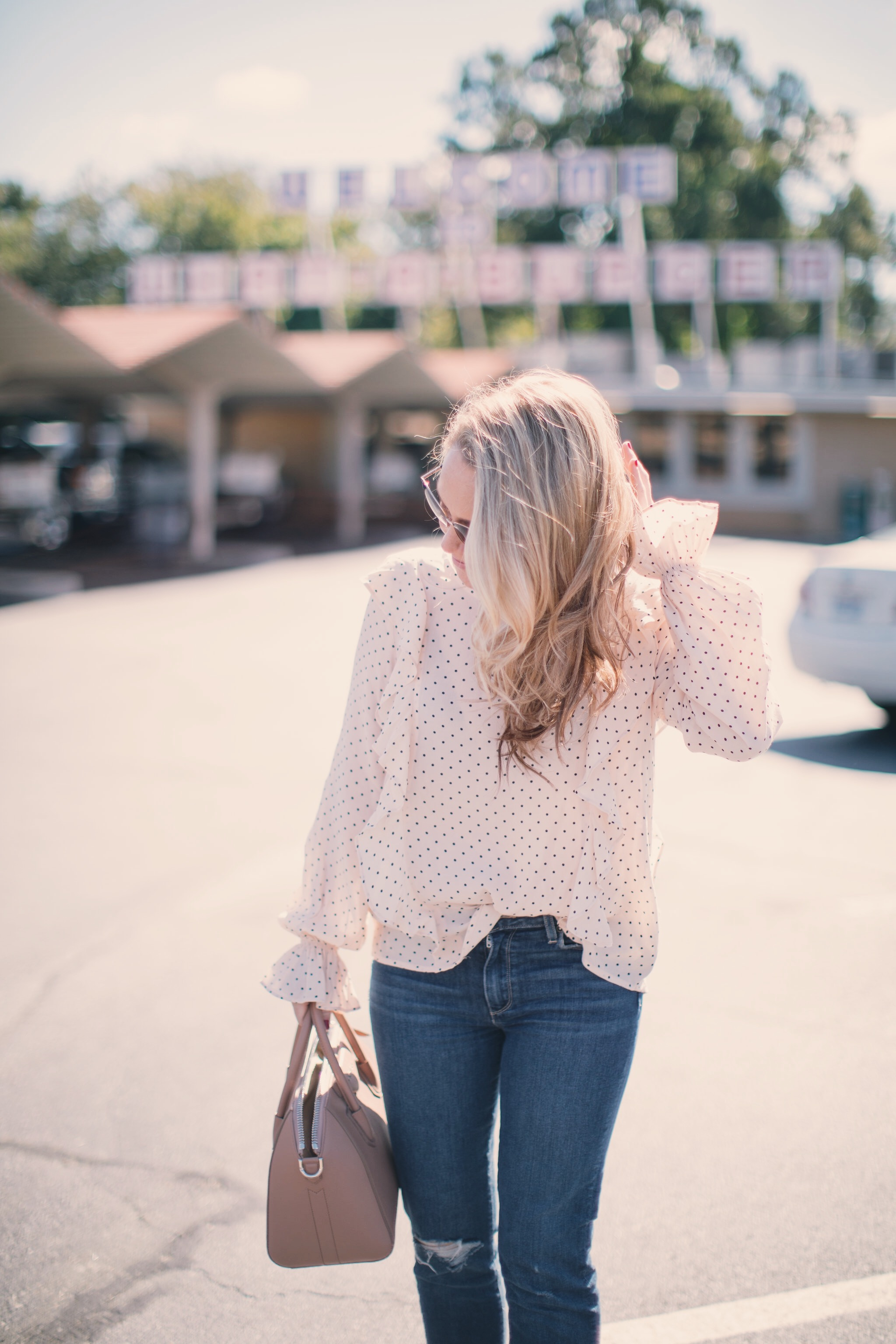 The perfect top for fall today on ECW! - Pretty Little Polka Dot Blouse by North Carolina fashion blogger Every Chic Way