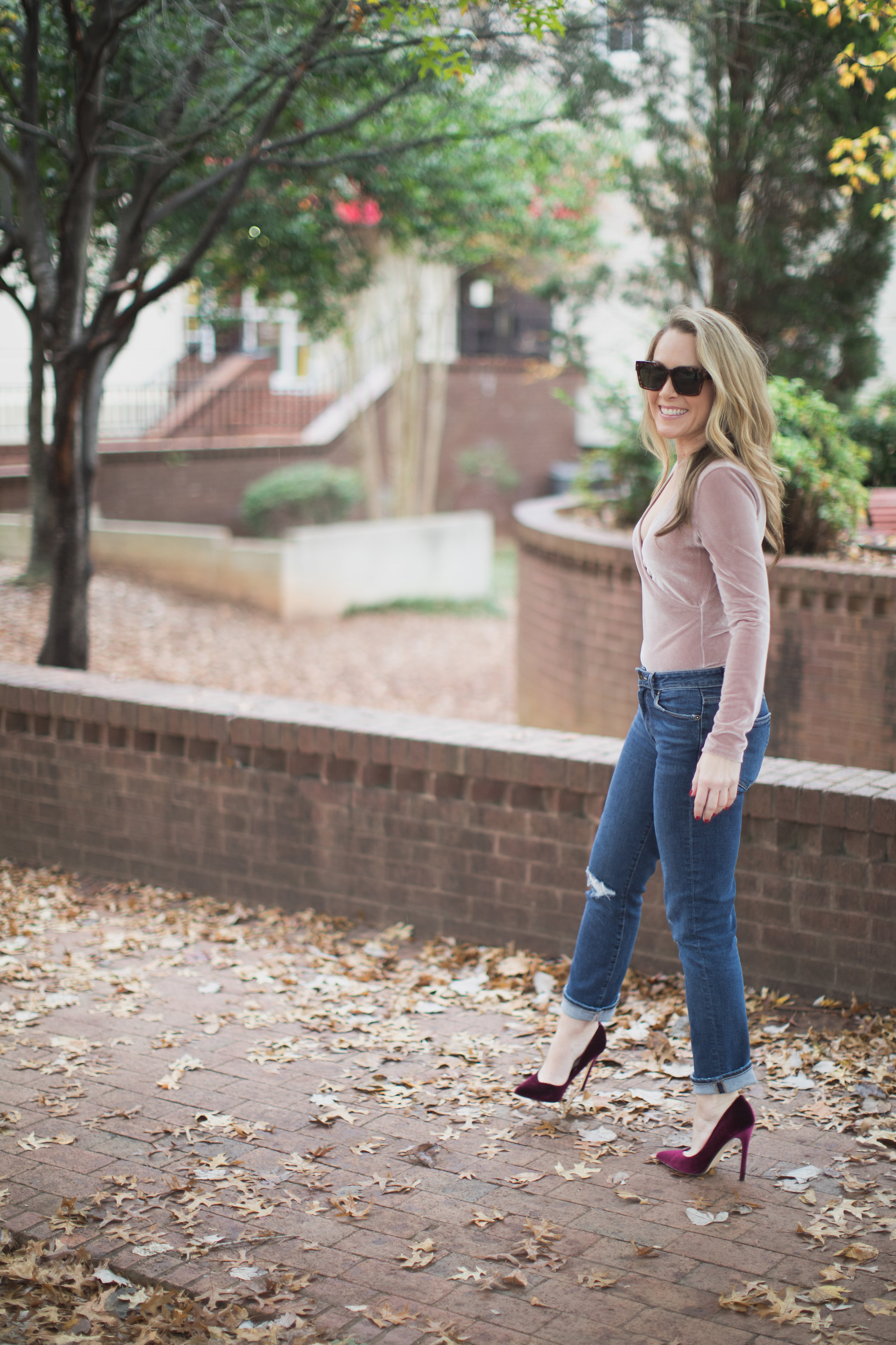 I can't get enough of bodysuits this season! I love this versatile trend! Today on ECW I am featuring my favorite velvet, Madewell bodysuit. - Madewell Velvet Bodysuit by North Carolina style blogger Every Chic Way