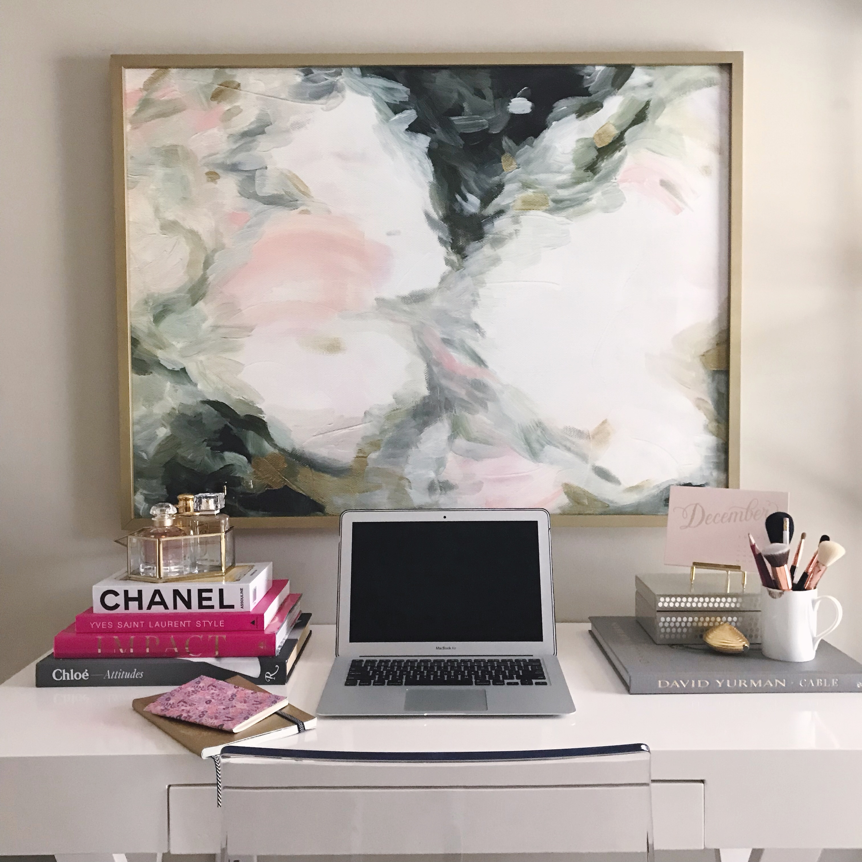 I am currently in the process of updating my home office. Here is a little sneak peek of what I have done so far by adding the Minted Mesmerize Wall Art.