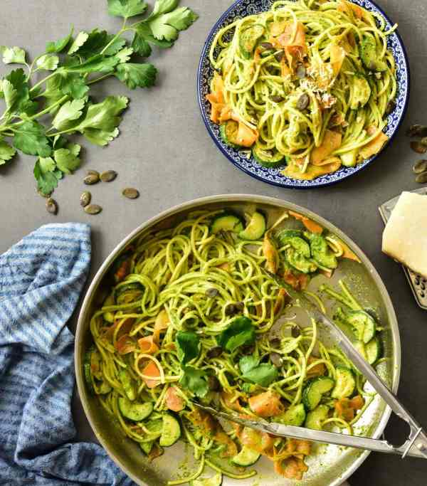 Parsley and Pumpkin Seed Pesto Pasta