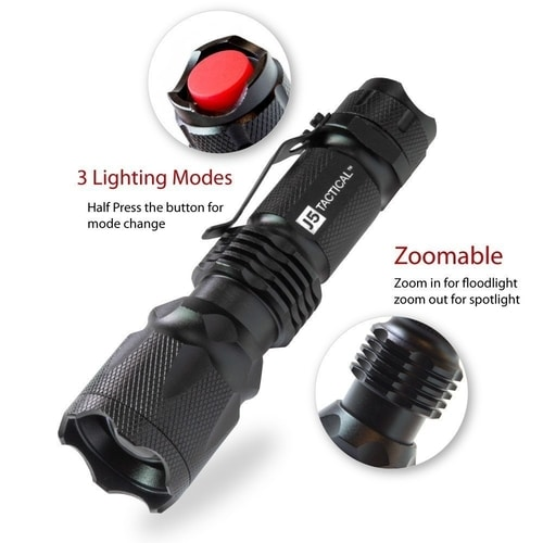 J5 Tactical Flashlight - Non-Lethal Self Defense Weapon