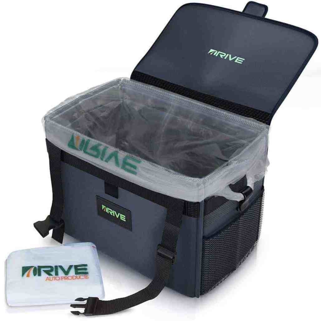 Drive Bin is the perfectly sized car trash bin that comes with all the features we need at a super affordable price