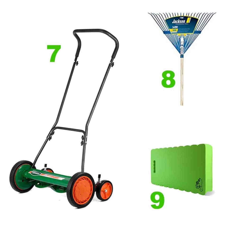 Shovel, pruner and bowrake for the DIY gardener