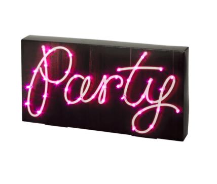 scritta luminosa party