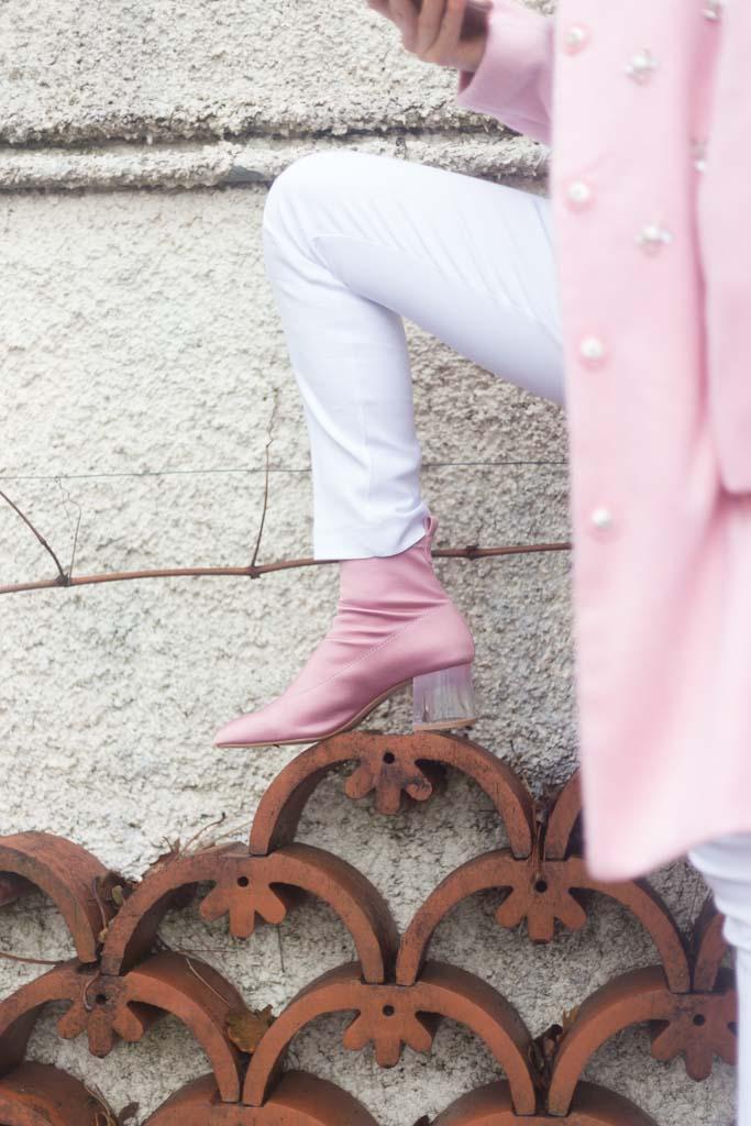 stivaletti rosa con tacco trasparente