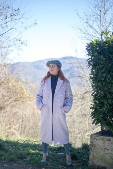 cappotto con perle viola