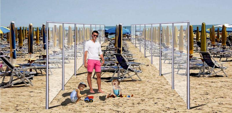 spiaggia con divisorio in plexiglass